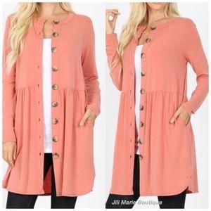 Long cardigan rose pink button detail NWT
